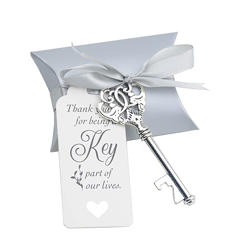 46pcs Wedding Favor Souvenir Gift Set with Candy Box Vintage Skeleton Key Bottle Openers Thank You Gift Tag Silky Ribbon (Antique Copper)