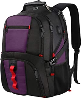 Extra Large Backpack,TSA Friendly Travel Laptop Backpack for Men&Women,Water Resistant Big Business College School Computer Bookbag with USB Charging Port/Headphones Hole,Fits 17-Inch Notebooks-Purple