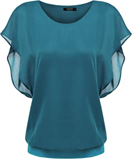 Zeagoo Damen Fledermaus Batwing Chiffonbluse Tunika T-Shirt Top Bluse Kurzarm Rundkragen Sommer Casual Loose Fit