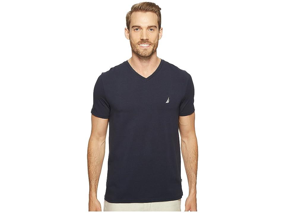 Nautica Slim Fit V-Neck T-Shirt (Navy) Men