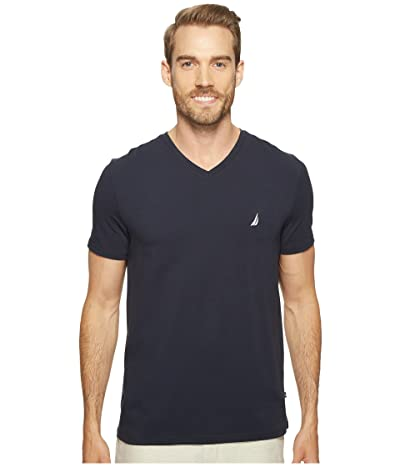 Nautica Slim Fit V-Neck T-Shirt (Navy) Men