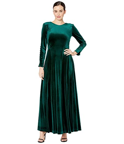 Tahari by ASL Long Sleeve Velvet Maxi with Covered Button Sleeve Detail (Hunter) Women