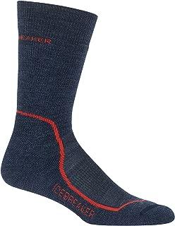 Icebreaker Merino Men's Hike+ Medium Cushion Crew Socks, Fathom Heather/Midnight Navy/Chili Red, Large