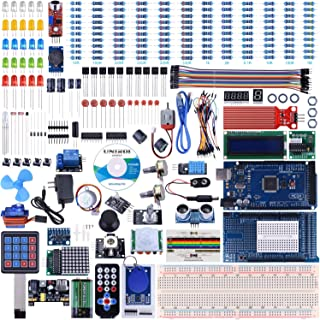 UNIROI Ultimate Arduino Starter Kit with Instruction Booklet, MEGA 2560 R3, 1602 LCD, , RTC Module, GY-521 Module,DHT11 Temp & Humi Sensor, Water Sensor, Sound Sensor Module(242 Items)