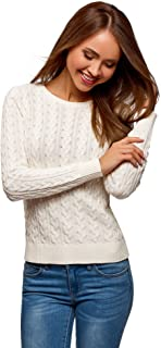 oodji Collection Women's Textured Cable Knit Pullover