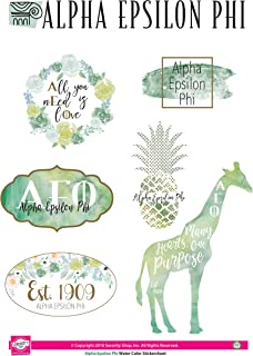 Alpha Epsilon Phi - Sticker Sheet - Watercolor Theme