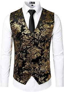 ZEROYAA Mens Hipster Metallic Paisley Printed Single Breasted V-Neck Suit Vest/Tuxedo Waistcoat