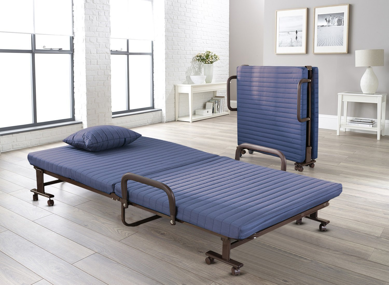 - Vesgantti Folding Away Guest Single Beds With Mattresses Foldable Lounge  Chair With Adjustable Backrest And Free Pillow (Blue, 190 * 80):  Amazon.co.uk: Kitchen & Home