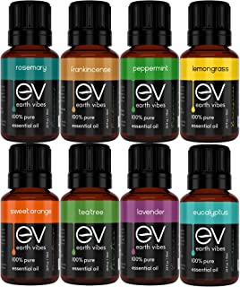 Earth Vibes Essential Oils Set Top 8 Essential Oil For Aromatherapy - 8 x 10ml - Therapeutic Grade - 100% Pure Of The Highest Quality - Tea Tree, Lavender, Peppermint, Eucalyptus Gift Set Starter Kit