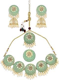 Zaveri Pearls Green Enamel Filigree Necklace Earring Maangtikka & Ring Set For Women-ZPFK10791