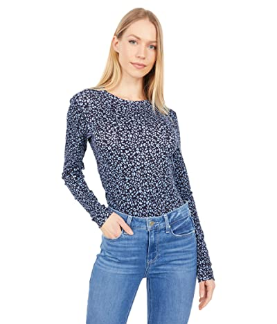 Three Dots Heritage Knit Long Sleeve Printed Crew Neck