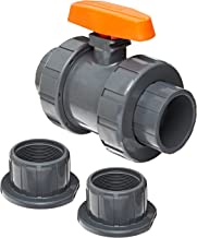 Hayward TB1150STE Series TB True Union Ball Valve, Socket/Threaded End, PVC with EPDM Seals, 1-1/2