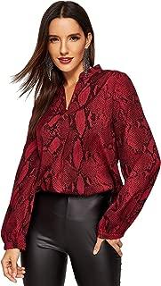 Women's Casual V Neck Snake Skin Print Long Sleeve Pullover Blouses Tops