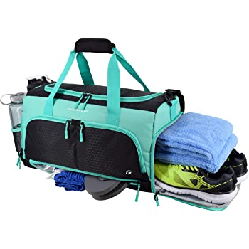 """Ultimate Gym Bag 2.0: The Durable Crowdsource Designed Duffel Bag with 10 Optimal Compartments Including Water Resistant Pouch (Teal, Medium (20""""))"""