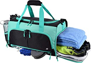 Ultimate Gym Bag 2.0: The Durable Crowdsource Designed Duffel Bag with 10 Optimal Compartments Including Water Resistant Pouch (Teal, Medium (20