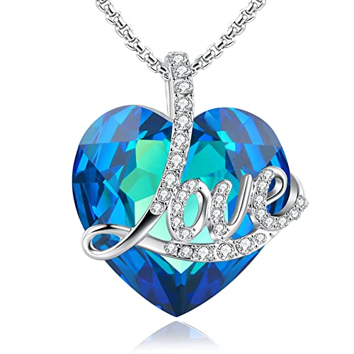 Angelady Blue Love Heart Pendant Necklace Of Swarovski Crystal Engraved LoveBirthday Gifts For Her