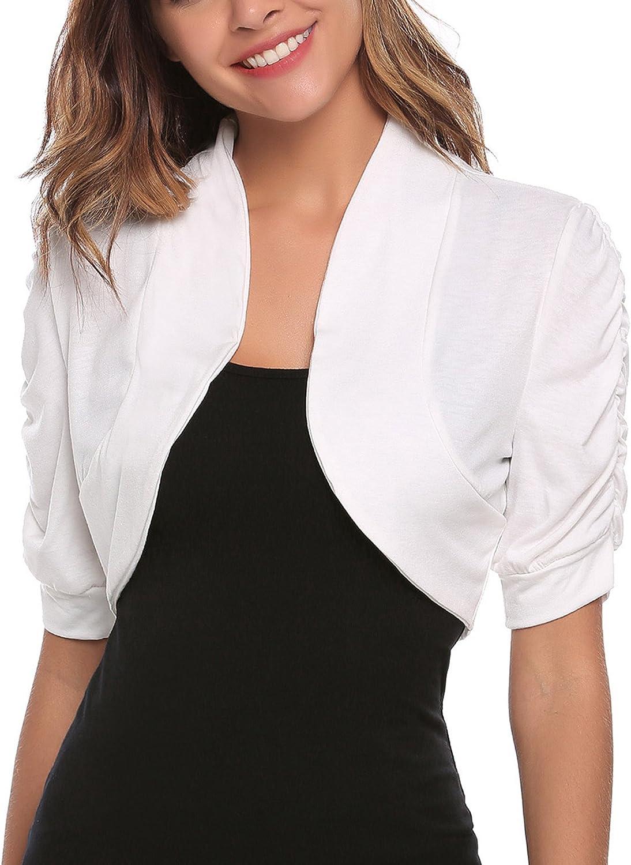 ELESOL Womens Short Sleeve Bolero Shrug Cropped Cardigan Open Front Ruched Bolero Jacket S-XXL