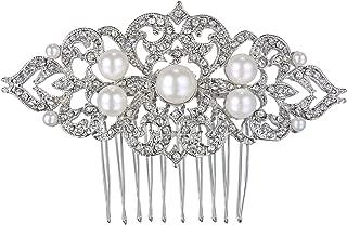 EVER FAITH Silver-Tone Ivory Color Simulated Pearl Austrian Crystal Art Deco Wedding Hair Side Comb Clear