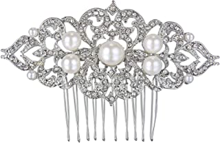EVER FAITH Silver-Tone Ivory Color Simulated Pearl Austrian Crystal Art Deco Wedding Hair Side Comb Clear
