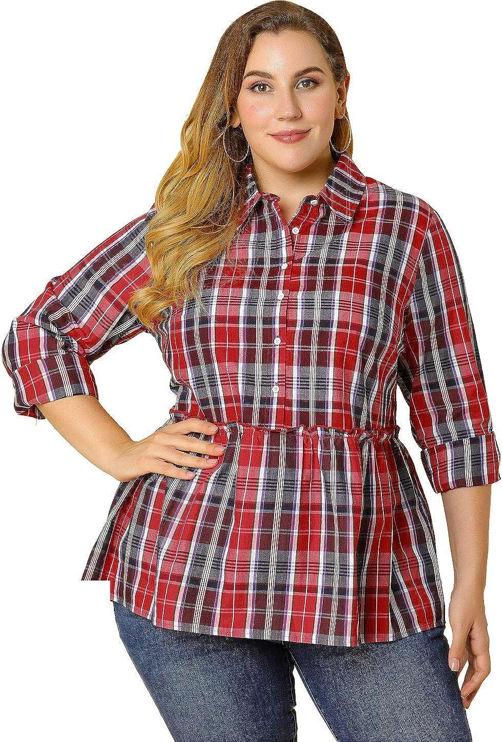 Agnes Orinda Women's Plus Size T Shirt Long Sleeve Button Down Plaid Peplum Work T Shirts