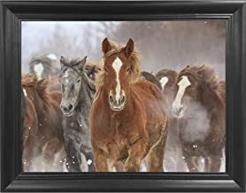 Charging Horses 3D Poster Wall Art Decor Framed Print | 18.5x14.5 | Lenticular Posters & Pictures | Memorabilia Gifts for Guys & Girls Bedroom | Natural Wildlife & Animal Landscape Picture for Home