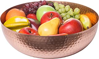 Red Co. Elegant Handcrafted Hammered Round Gilded Bowl, Decorative Centerpiece, Large, Copper Finish, 14-inch