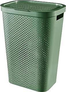 CURVER Wasmand, 60 l, Infinity Dots – gerecycled kunststof, wasdroger, wasmand, groen, L
