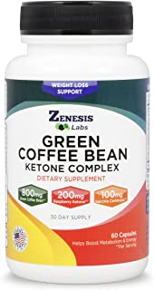 Green Coffee Bean, Raspberry Ketone, Garcinia Cambogia, Green Tea extracts - Appetite Suppressant for Fat Burning & Weight Control -100% Natural by Zenesis Labs