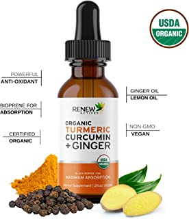 Renew Actives Turmeric Liquid Extract with Ginger & Lemon Oil - 100% Organic Pure Vegan Supplement, GMO Free, Best Absorption & Potency for Joint Pain, Inflammation & Antioxidant Support -