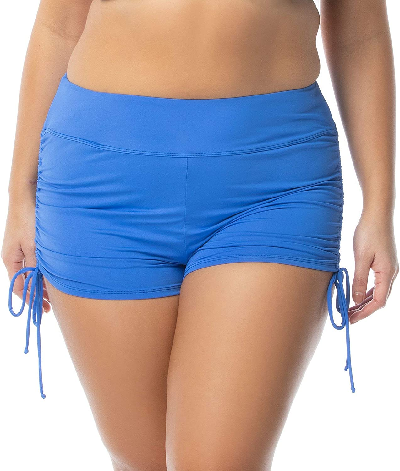 BEACH HOUSE Woman Women's Plus-Size Solid Boy Short Swimsuit Bottom with Adjustable Side Ties (Harbor Blue 402, 22W)
