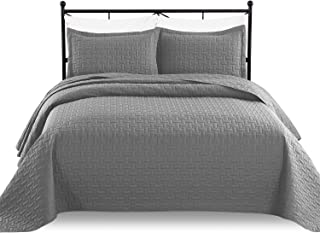 Luxe Bedding 3-piece Oversized Quilted Bedspread Coverlet Set (Full/Queen, Gray)