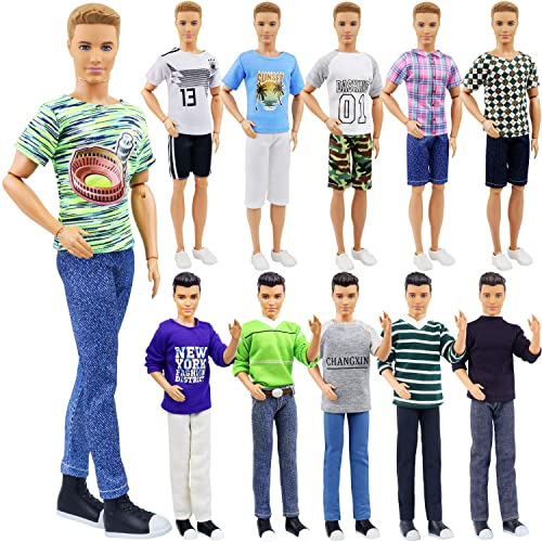 """3 Sets Fashion Long Sleeve Shirt Outfit Clothes W Trousers For 12/"""" Boy Friend Do"""