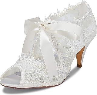 JIA JIA Chaussures de mariée pour Femme 5949419 Peep Toe Cône Talon Dentelle Satin Pompes Cravate Ruban Chaussures de Mariage