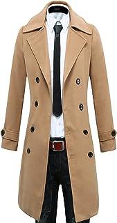 sicoozoe Men's Trench Coat Winter Long Jacket Double Breasted Overcoat