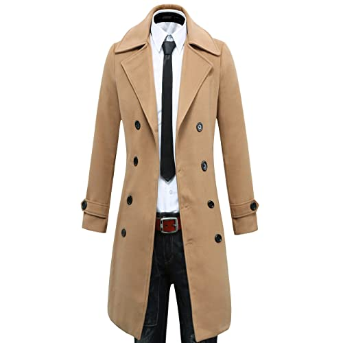 505cb448a137 Benibos Men's Trench Coat Winter Long Jacket Double Breasted Overcoat