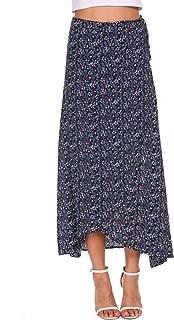 Women's Boho Floral Print High Waist Summer Beach Wrap Maxi Skirt Cover Up