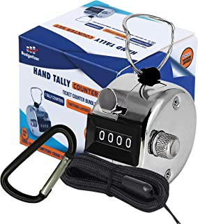 Budgetizer Hand Pitch Tally Counter Clicker–1 and 4 Pack Metal Handheld People Lap Counter Clickers with 1 Lanyard and 1 Carabiner – Manual Mechanical Silver Steel 4 Digit Number Finger Ring Click