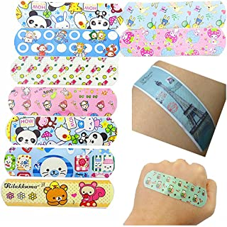 Minibaby Children's Adhesive Bandages for Kids Protection, Cute Lovely Cartoon Print, Band-Aid Assorted (Pack of 100)