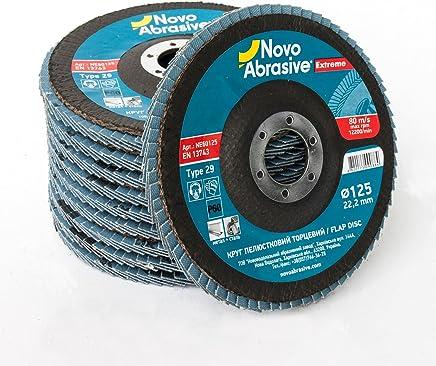 NOVOABRASIVE Zirconium Disques abrasifs à lamelles 125mm Grain 60. Lot de 10 pièces pour meulage, ponçage alésage MOP