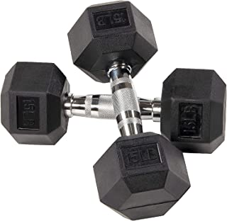 Fuxion Dumbbells 15 Lbs Rubber Encased Hex Pair   Hand Weights   All-Purpose, Home, Gym, Office, Exercise, Work (30 Total), Set of 2 Each 15 pounds / 6.8 Kg
