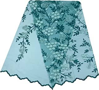 Stephen Wu.5 Yards colourful flower design aso oke African Nigerian tulle lace fabric french net yarn embroidered lace fabric for party wedding dress (green)
