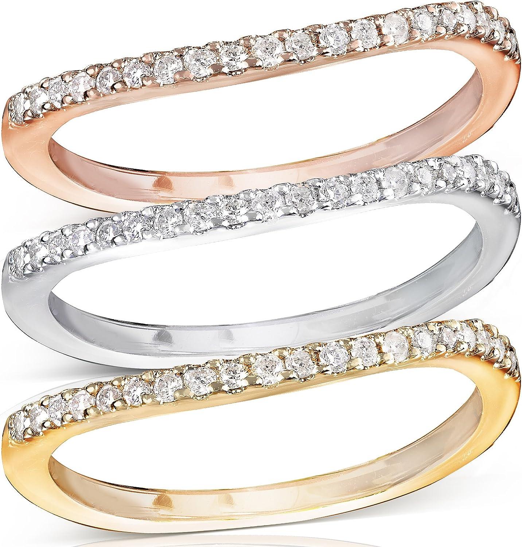 Kobelli Round Brilliant Diamond Curved Wedding Band 1/6 Carat (ctw) in 14K Gold