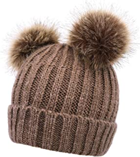 Simplicity Womens Winter Cable Knit Faux Fur Pompom Ears Beanie