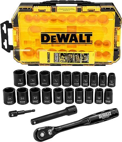 """2021 DEWALT outlet sale Impact Socket discount Set, 23-Piece, 1/2"""" Drive Metric/SAE (DWMT74739) online"""