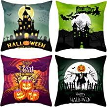 WOMHOPE Set of 4 Halloween Theme Pumpkin Faux Suede Decorative Throw Pillow Covers Cushion Pillow Cases 18 x 18 Inch for Living Room,Couch and Bed (Moon)