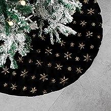 DegGod Plush Christmas Tree Skirts, 36 inches Luxury Black Faux Fur Xmas Tree Base Cover Mat with Gold Snowflakes for Xmas...