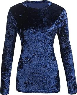EASTHER Women Vintage Velvet Long Sleeve Shirt Solid Oversize Top Blouse