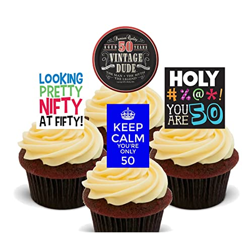 50th Birthday Male Funny Edible Cupcake Toppers