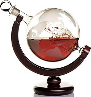 Whiskey Globe Decanter (28 Ounce) Etched World Globe...