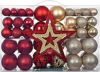 YILEEY Adornos de Navidad Decoracion 101 Piezas Dorado y Rojo, Arboles de Navidad Bolas de Plastico, Caja de Bolas de Navi...